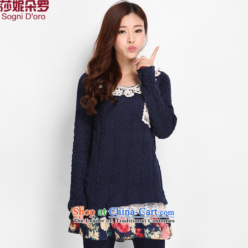 Luo Shani flower code women for winter dresses to xl Korean people video thin, thick sweater thick mm long TEE 76-7814 E.Elimination of dark blue 4XL( recommendations about 160 wear)