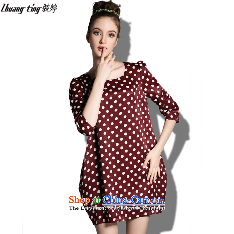 Replace, Hin thick zhuangting ting thin 2015 autumn large new women's high-end to increase expertise western sister dresses XXXL color photo 1821