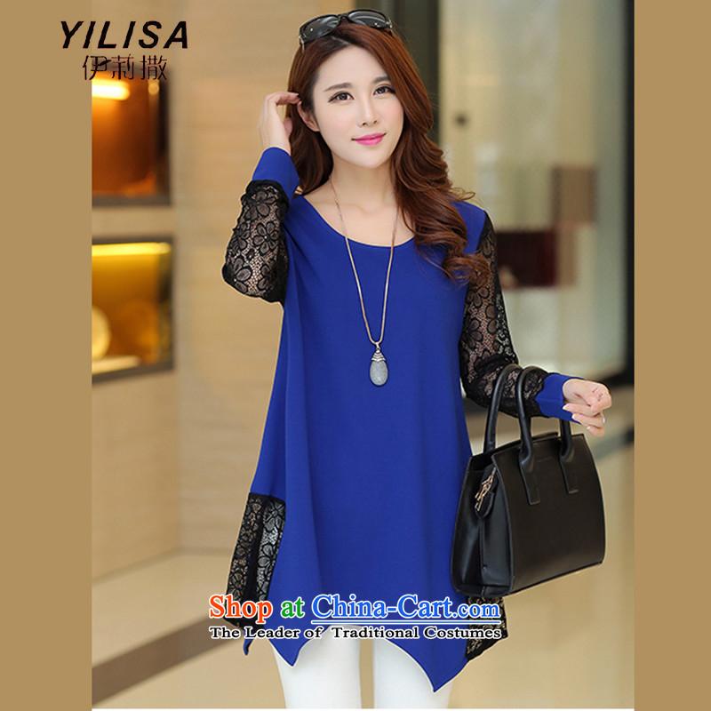 Large YILISA female thick mm Korean loose lace stitching shirt 2015 Spring_Summer new stylish large dresses W9508 blueXL
