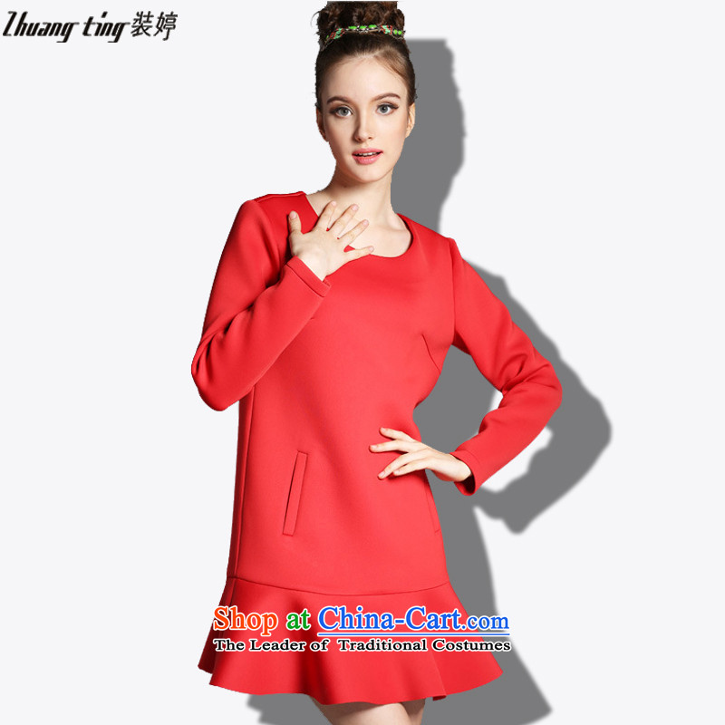 Replace, Hin thick zhuangting ting thin 2015 autumn large new women's high-end to increase expertise western sister dresses聽XXXL 1818 Red