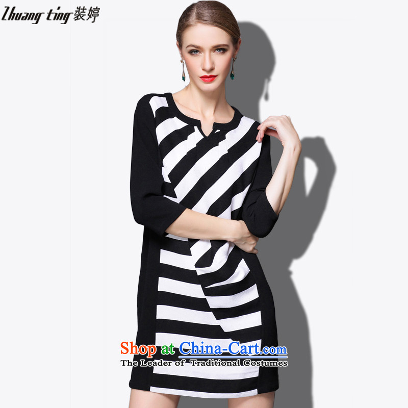 Replace, Hin thick zhuangting ting thin 2015 autumn large new women's high-end to increase expertise western sister dresses聽XXXL 1811 Black and White