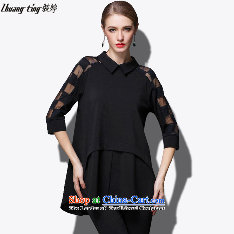 Replace, Hin thick zhuangting ting thin 2015 autumn large new women's high-end to increase expertise western sister dresses聽XXXL 1800 Black