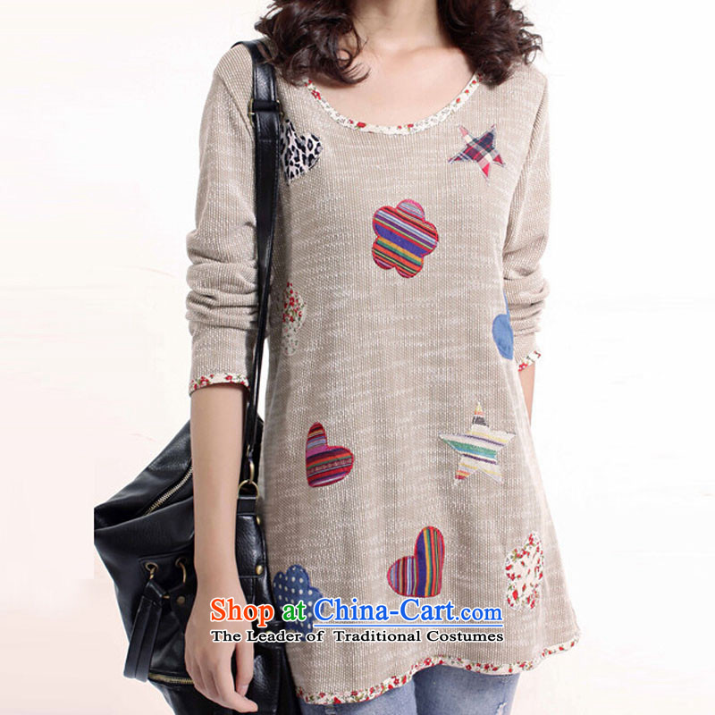 The�15 autumn love in the new version of Korea to increase women's code thick solid fat shirt leisure mm, Hin thin cotton linen, long-sleeved T-shirt apricot燲XXL 140-155