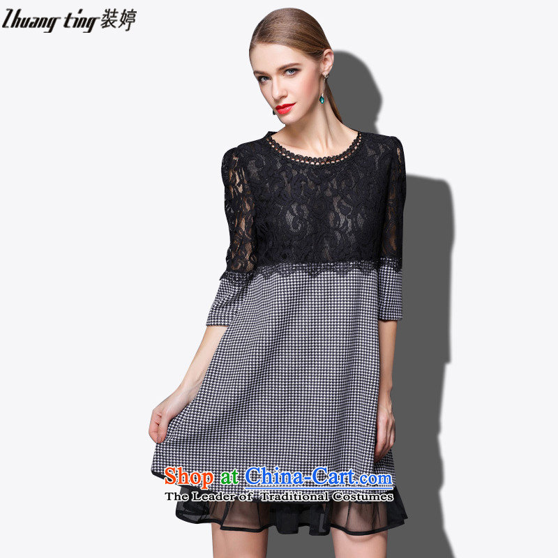 Replace, Hin thick zhuangting ting thin 2015 autumn large new women's high-end to increase expertise western sister dresses 1690 picture color聽XXXL
