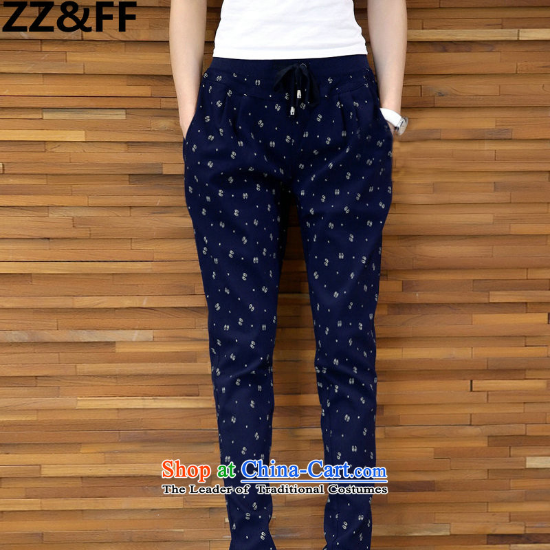 2015 Autumn and winter 200 Zz&ff catty fat mm to xl female new stamp forming the Stretch Wool Pants casual pants color navy XXXXL( recommendations 160-180 catties)