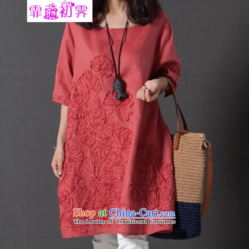 The beginning of the rain. Arpina ji 2015 new dresses larger female arts van fresh small loose embroidered short sleeves cotton linen dressesW519orangeM