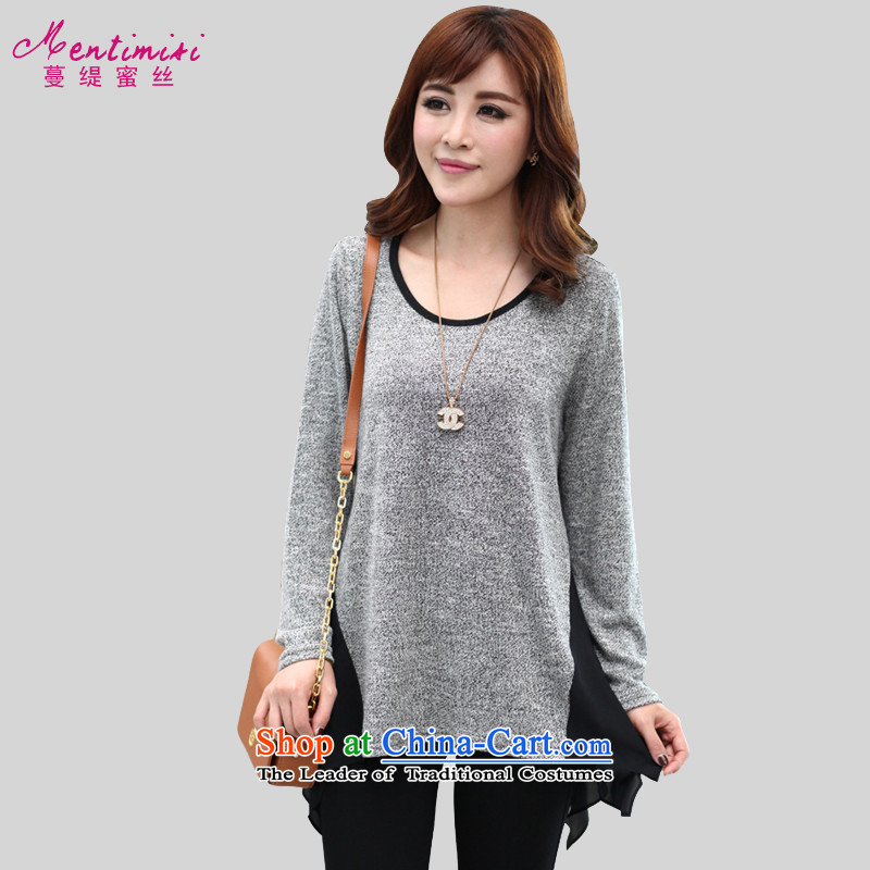 Overgrown Tomb economy honey population by 2015 Spring new products to increase women's code in mm long, thick Korean stitching long-sleeved T-shirt 1319 gray XL