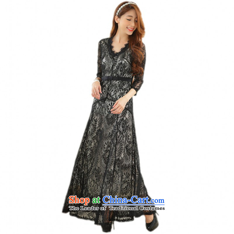 C.o.d. Package Mail Western style engraving lace long skirt xl stylish Sau San V-neck strain elegant dress 7 spring and summer load women sleeved black skirt聽around 145-160 XXL catty