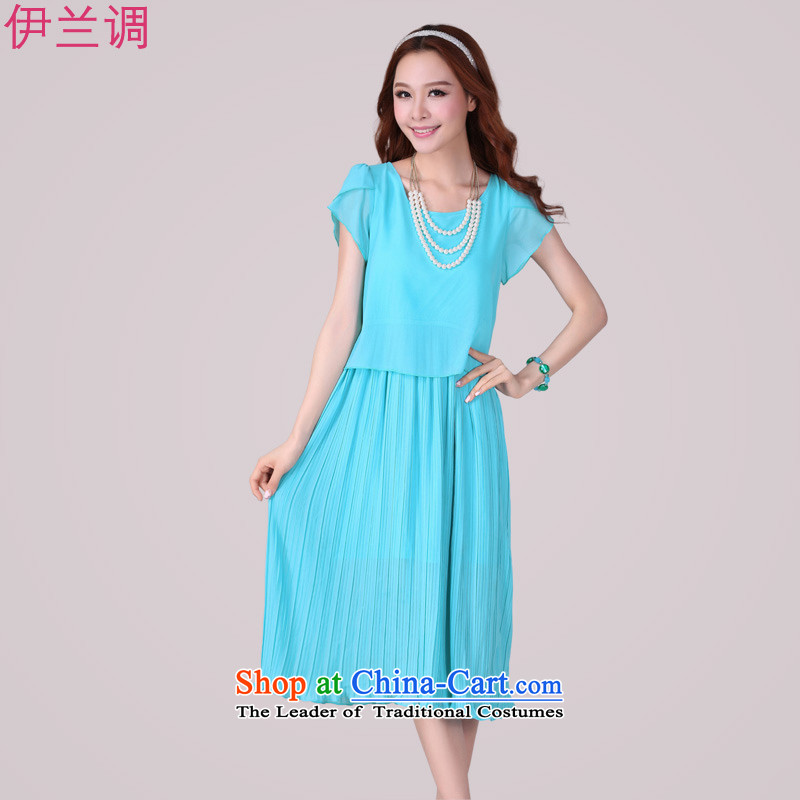 Gilland up Code women's dresses long skirt thick mm Summer 2015 new chiffon Korean 2,064 short-sleeved Sau San blue燲L