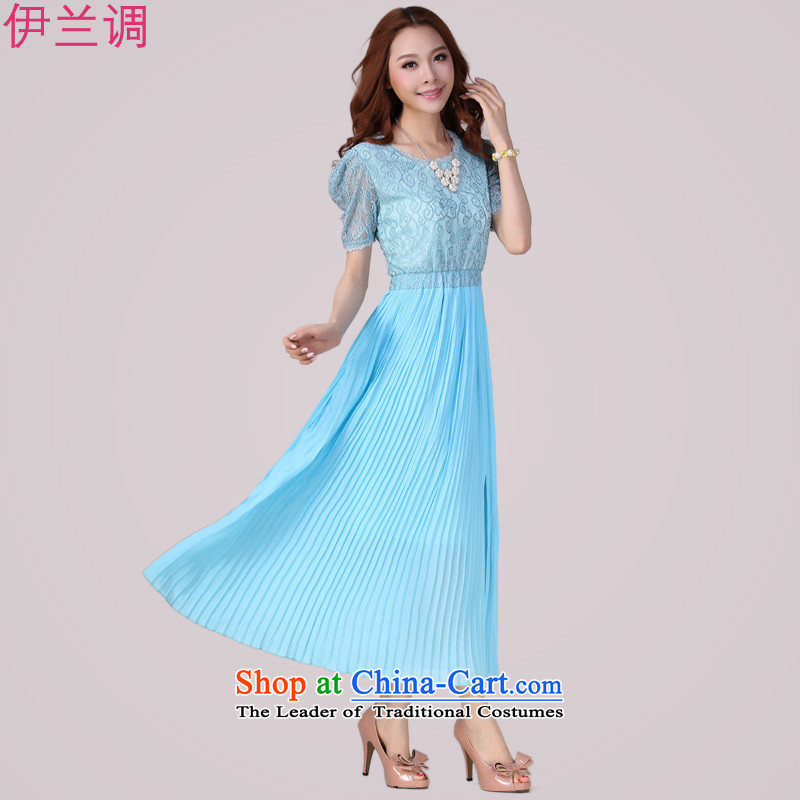 Gilland up Code women's dresses long skirt for summer 2015 mm thick summer summer new chiffon lace Sau San short-sleeved blue燲XXL 2067