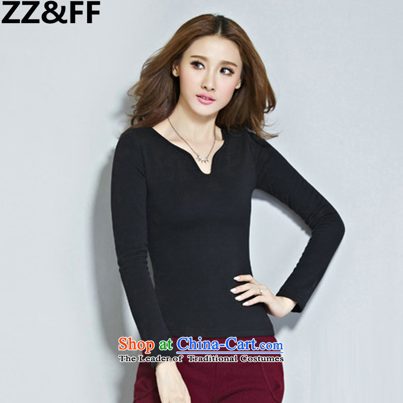 2015 Autumn and winter Zz_ff New Sau San plus forming the Netherlands Korean lint-free video thin thick warm long-sleeved T-shirt, sexy female pure color T-shirt Black燲L V