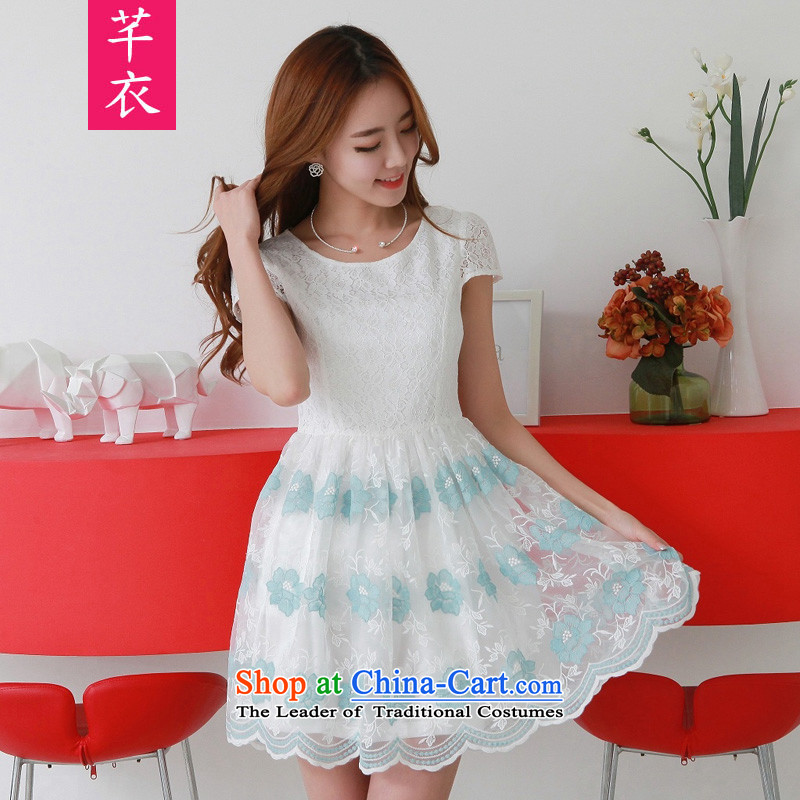 Kumabito Summer 2015 stylish 2-color lace elegant sweet graphics thin dresses and noble elegance thin waist xl thick mm lady skirt blue to large XL 110-130 catty