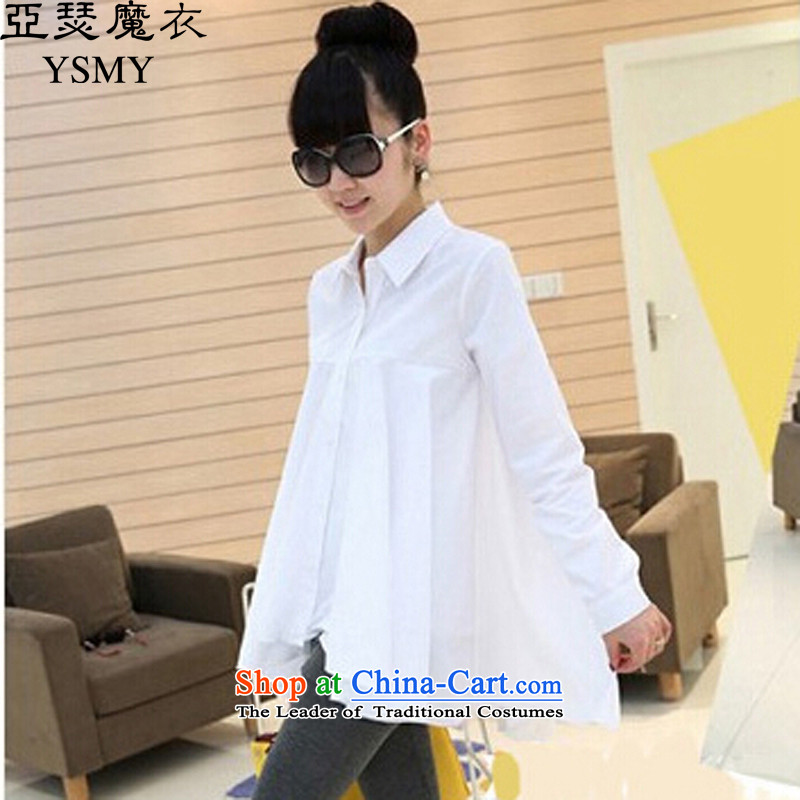 Arthur magic yi�15 autumn, the major new code Women Korean lapel single row detained shirt, large relaxd shirt female White燲L