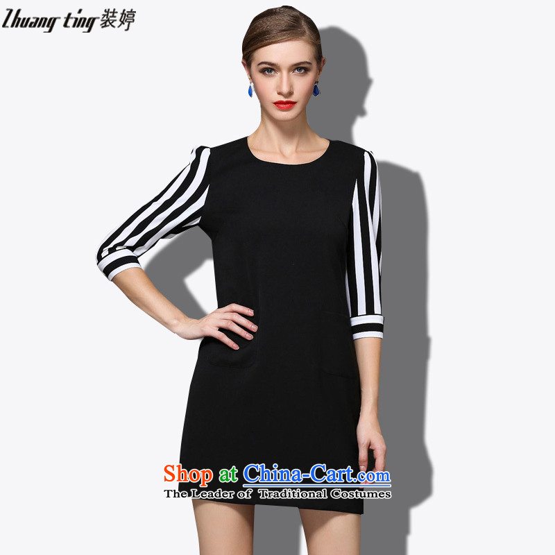 _Replace Ting zhuangting Health 2015 Autumn fall inside the new Korean version of 7 round-neck collar Cuff Color Plane Collision stitching streaks dresses 1665 picture color�L