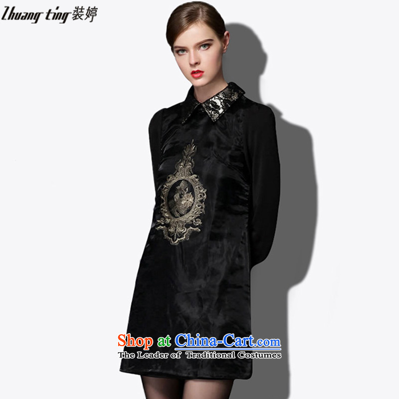 _Replace Ting zhuangting as soon as possible new_ Autumn 2015, Europe and the high end of the larger women's retro small lapel Sau San dresses Black 1541燲L