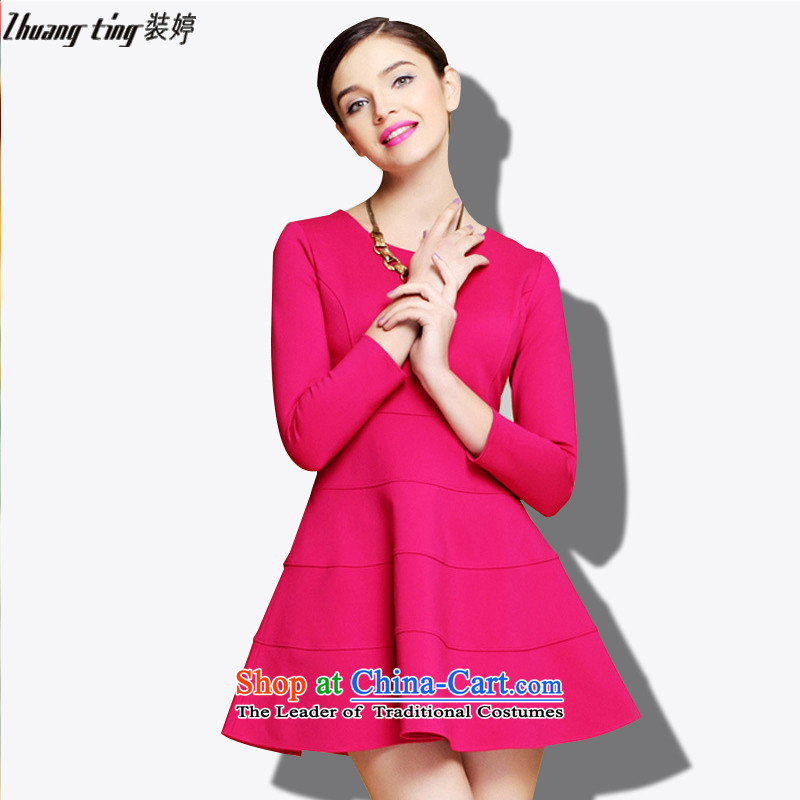 _Replace Ting zhuangting health high-end load autumn 2015 ultra large new women's seven forming the cuff dresses 1299 Red燲L