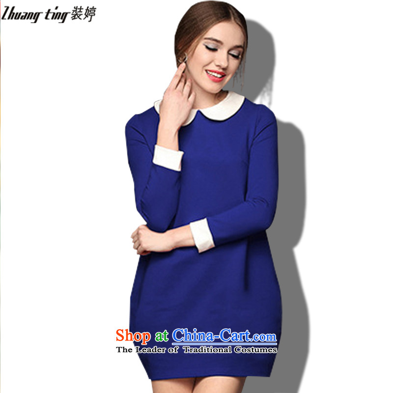 _Replace Ting zhuangting as soon as possible new_ Autumn 2015, Europe and the larger female child for simple flower bud dresses 1302 Blue燲XL