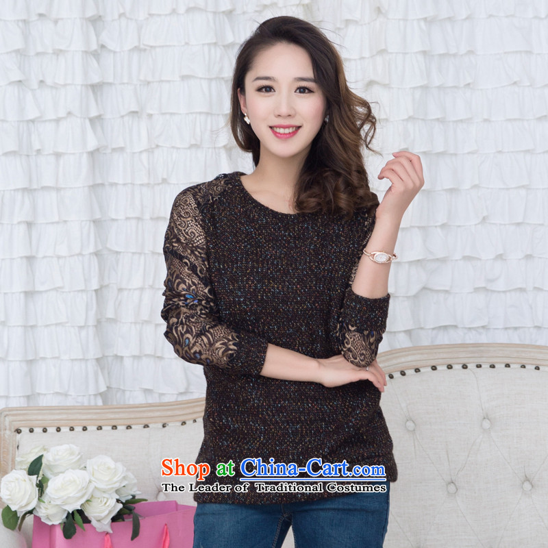 The United States and increase the thick MM2015 Spring New xl female Sleek and versatile lace engraving long-sleeved T-shirt knitting sweater female brown tides forming the�L