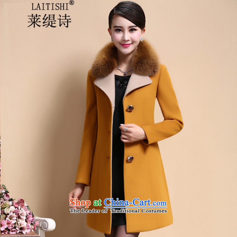 Blair's poem 2015 autumn and winter female Korean version of large numbers of female cloak gross? mm are fat girl jacket long large cashmere overcoat 8009_ yellow and brown燲XL