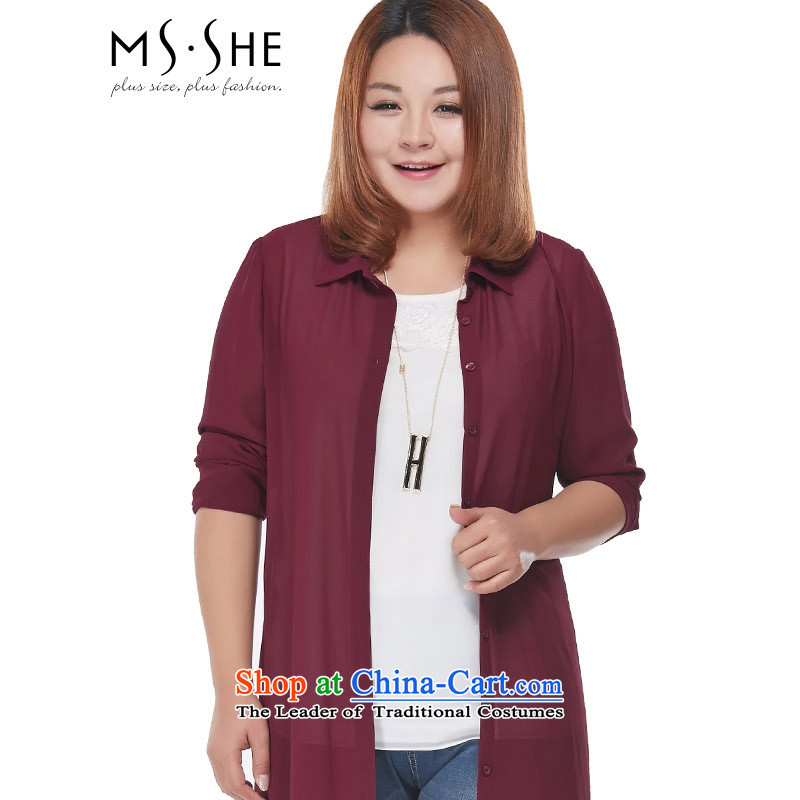 Msshe xl female chiffon Netherlands 2015 new summer chiffon shirt sunscreen butted long 2875? 3XL wine red
