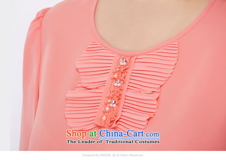 New Load autumn msshe2015 round-neck collar long-sleeved shirt thick MM chiffon shirt to increase women's code 2515 light purple6XL picture, prices, brand platters! The elections are supplied in the national character of distribution, so action, buy now enjoy more preferential! As soon as possible.