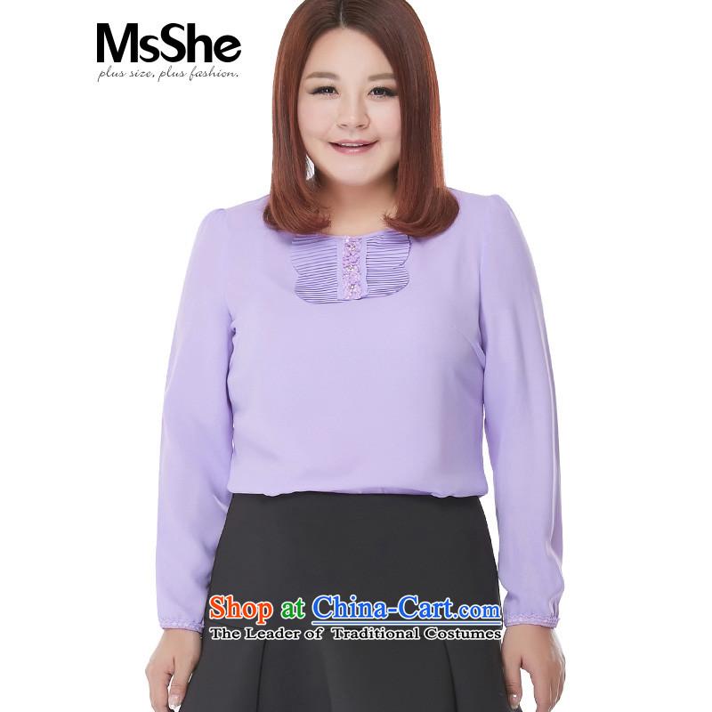 New Load autumn msshe2015 round-neck collar long-sleeved shirt thick MM chiffon shirt to increase women's code 25156XL light purple