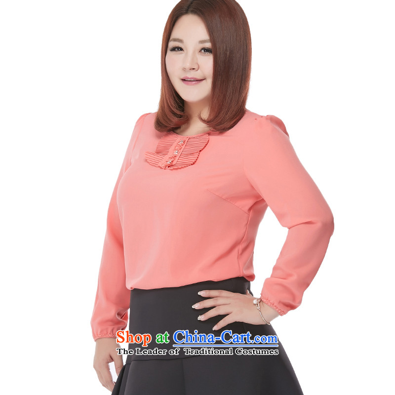 New Load autumn msshe2015 round-neck collar long-sleeved shirt thick MM chiffon shirt to increase women's code 2515 light purple6XL, Susan Carroll, the poetry Yee (MSSHE),,, shopping on the Internet