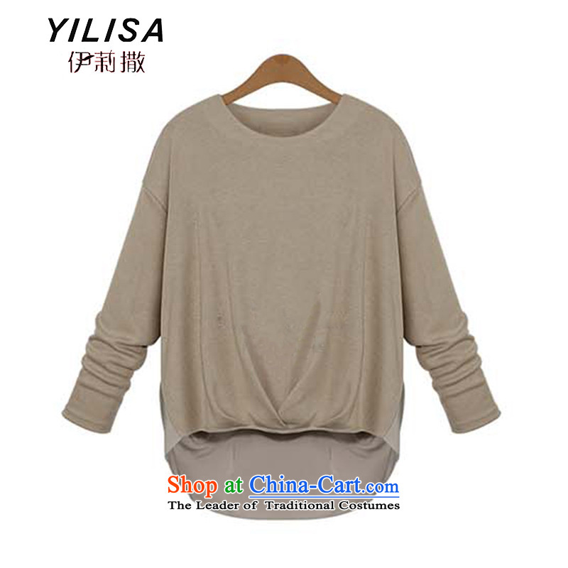 Large YILISA female new boxed version western style autumn forming the Netherlands T-shirt thick mm to xl loose autumn and winter clothes K843 T-shirts khaki�L