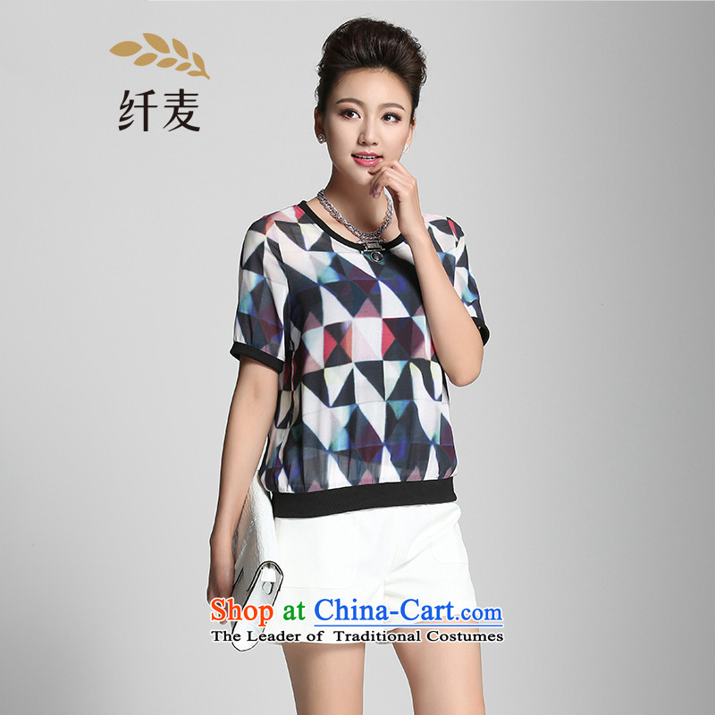 The former Yugoslavia Migdal Code women 2015 Summer new mm thick Korean color T-shirt geometries knocked 952153876 suit�L
