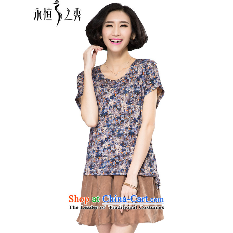 The Eternal-soo to xl women's dresses 2015 Spring/Summer thick, Hin thin new thick sister 200 catties loose leave two small fresh floral dress with map color 4XL