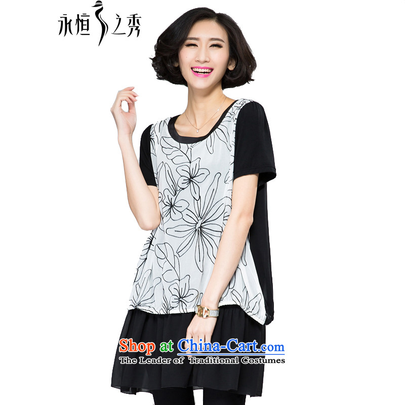 The Eternal Soo-thick mm larger women's dresses 2015 Spring_Summer new people of the video thin thick western chiffon flowers computer embroidery leave two T-shirts dress with Black燲L