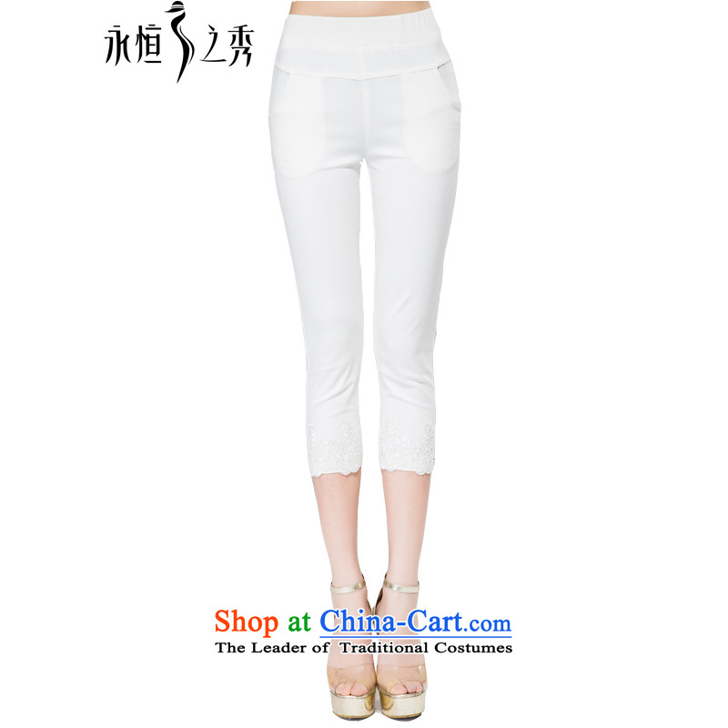 The Eternal-soo to xl female Capri thick sister 2015 Spring_Summer new thick mm thick, Hin thin wild lace hem leisure pants White�L