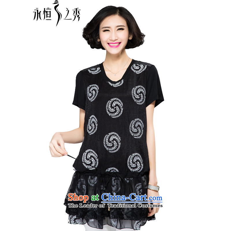 The Eternal Yuexiu Code women's dresses 2015 Spring_Summer thick, Hin thin new mm thick western style computer embroidery adjustable waist twine video thin black skirt�L