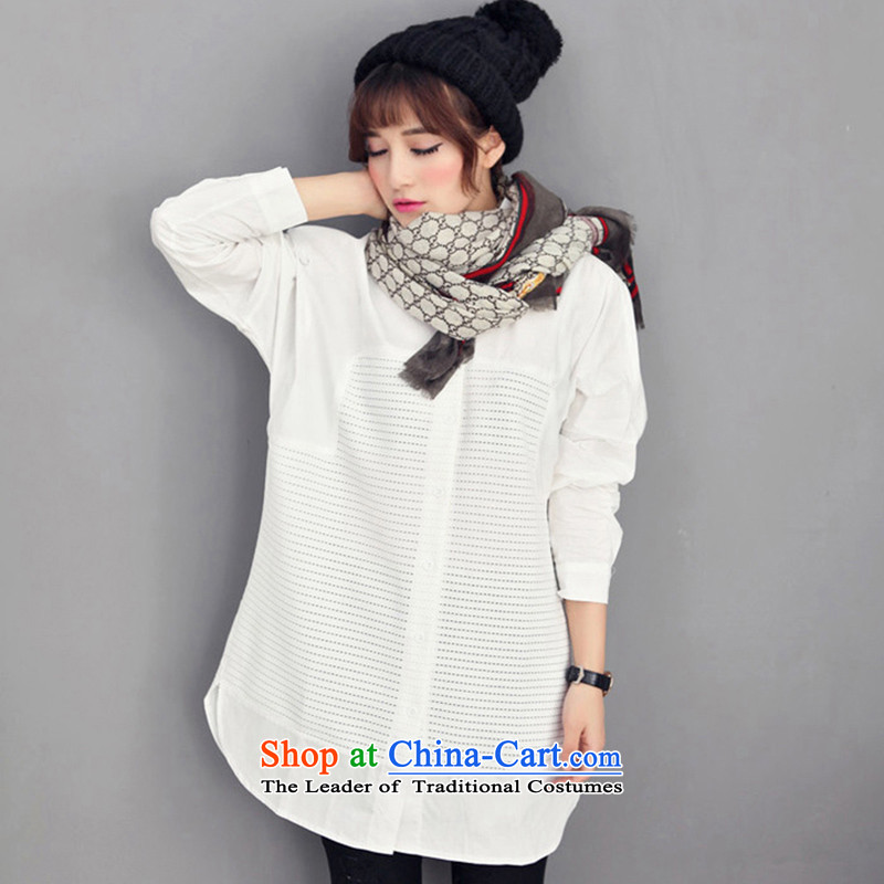 Maximum number of ladies spring 2015 the new Korean version of fat mm white short-sleeves T-shirt loose video appeared to intensify the skirt female white�L
