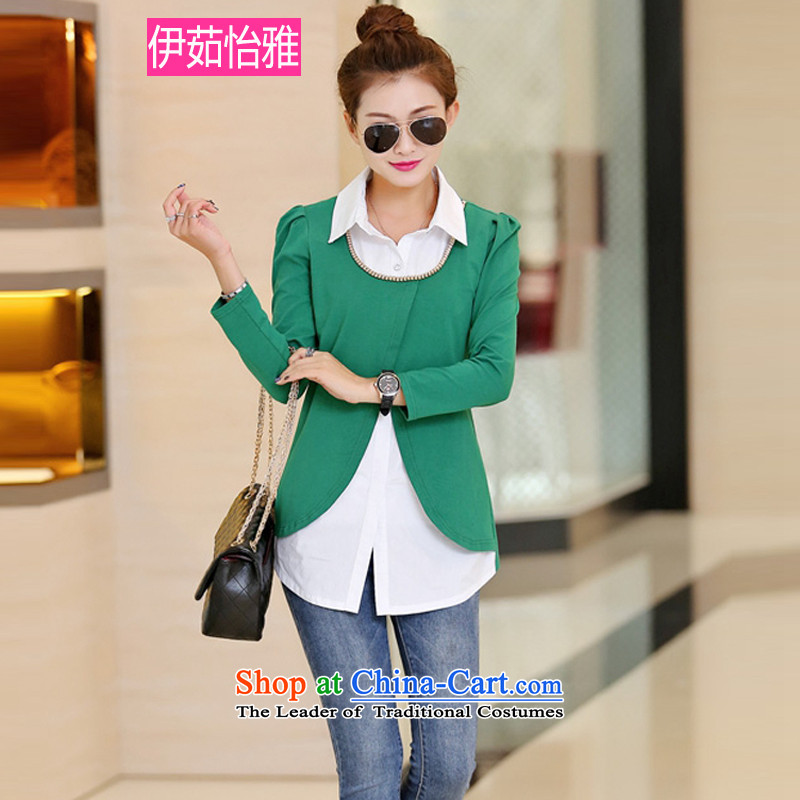 El-ju Yee Nga2015 Autumn false 2 long-sleeved knitted blouses and large greenXXXL YZ5180 Shirt