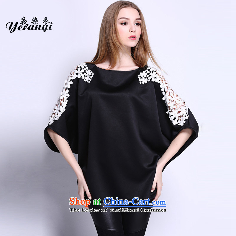 Night dyeing yi2015 large female summer new expertise in women's t-shirt check video thin flower engraving bat sleeves shirt blackL(120-135 catties)