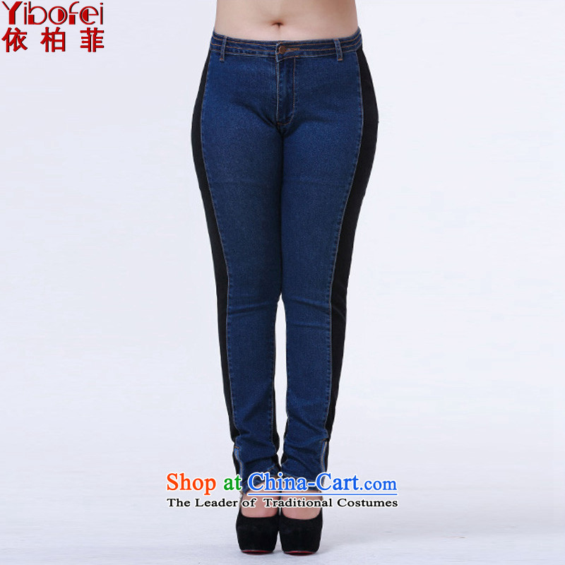 In accordance with the new 2015 perfect thick sister plus hypertrophy code stitching jeans video thin Sau San zip castor pencil trousers female Y2064 BLUE XL