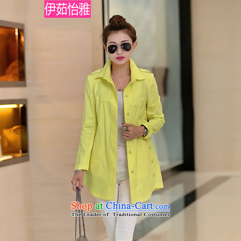 El-ju Yee NgaKorean autumn 2015 replacing knitting stitching leisure long-sleeved cotton larger female shirt YZ5083 YELLOWXXL