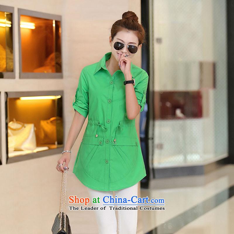 El-ju�15 Autumn Yee Nga replacing drawcord leisure thick sister large, video thin women shirt YZ5081 GREEN燲L