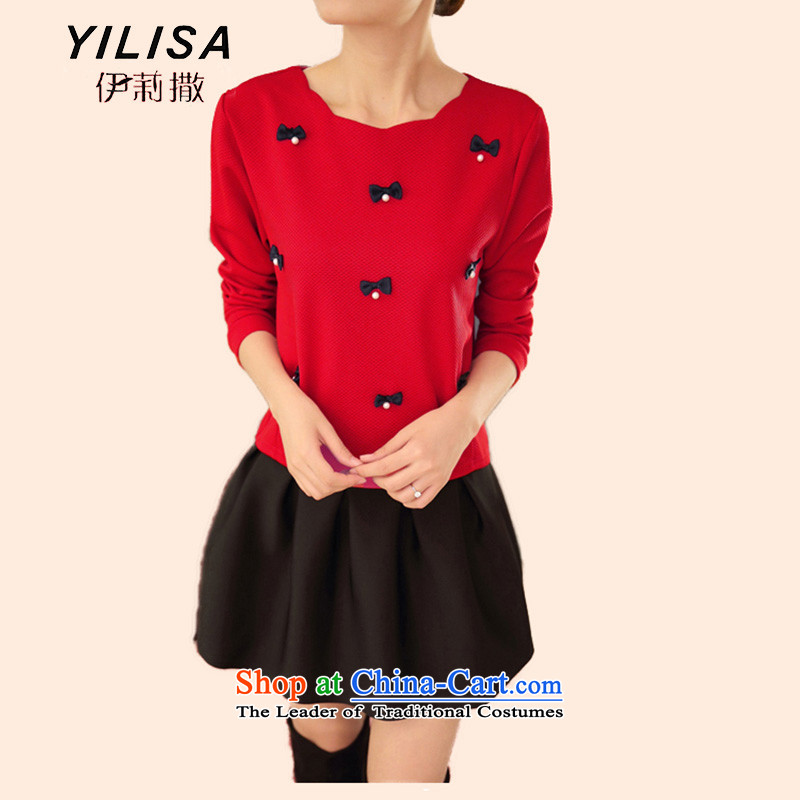 Large YILISA female new spring pin wear long-sleeved shirt shirts pearl hundreds pleated skirts DRESS CASUAL ELEGANCE SUITEC6853red plus black skirt4XL