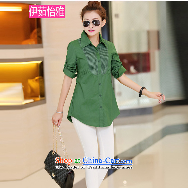 El-ju2015 Autumn Yee Nga New_ precordial knitting stitching graphics thin long-sleeved shirt with large greenXXXL YZ8289