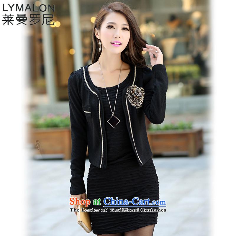 The lymalon lehmann thick, Hin thin 2015 Autumn replacing the new Korean version of large numbers of ladies Sleek and versatile 5XL 177 black jacket