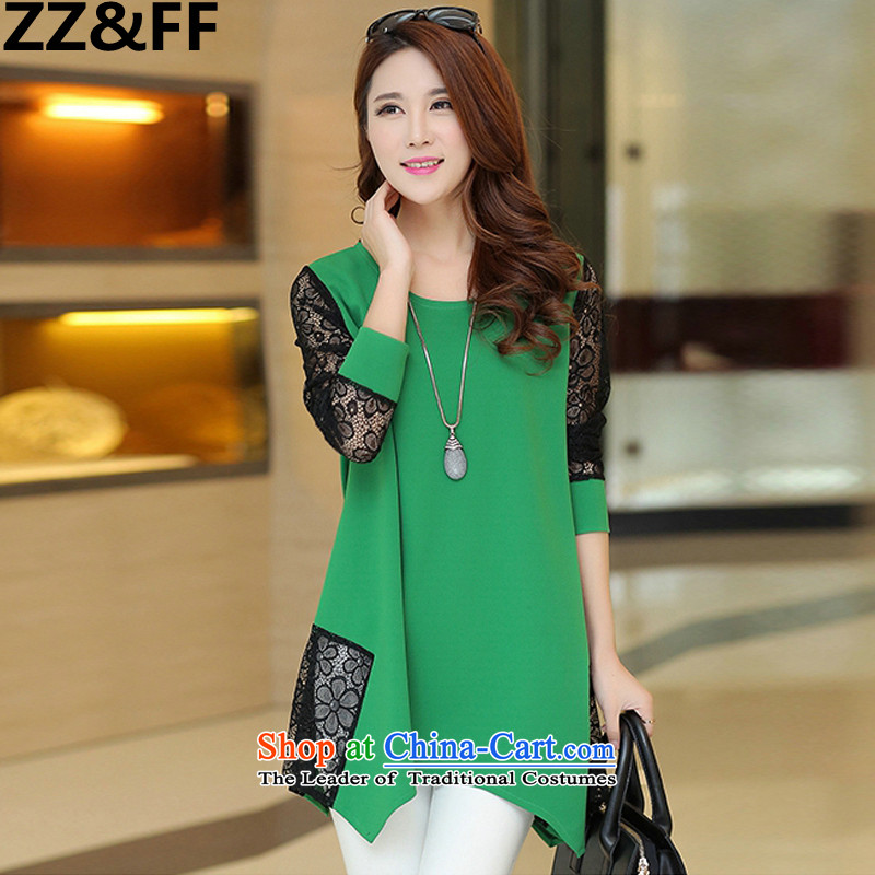 2015 Summer Zz_ff new Korean Version to increase women's code, long shirts lace stitching chiffon shirt燲XXXL green