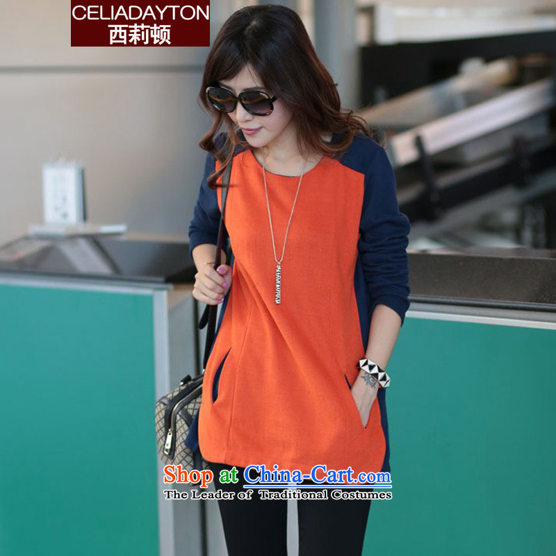 Szili Clinton to increase women's code 2015 Autumn replacing thick mm long in the new stylish knocked color long-sleeved T-thick sister video thin forming the Netherlands 200 catties compassionate?XXXXL orange