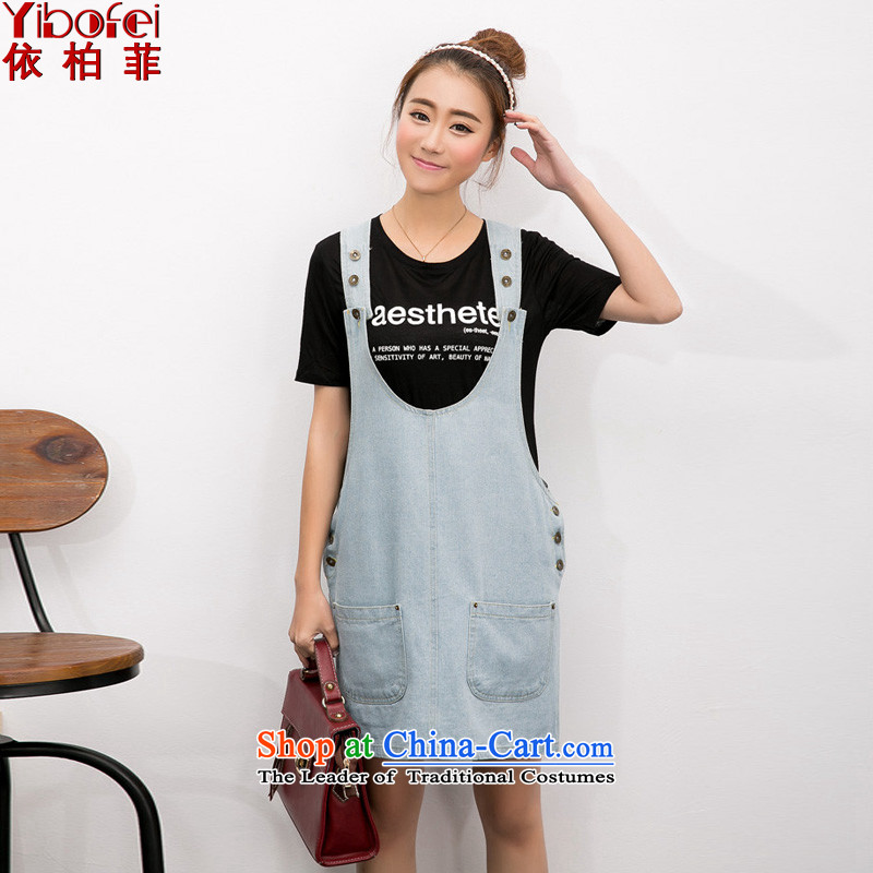 In accordance with the perfectsummer 2015 new thick MM loose lovely cowboy strap skirt Double Pocketed pregnant women skirt vestY2072light blueXXL