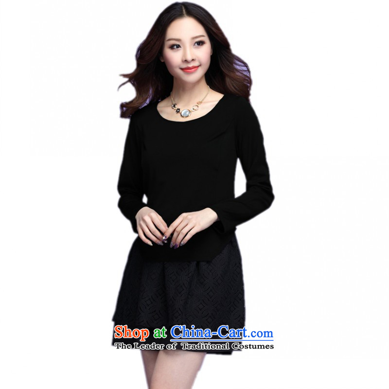 C.o.d. xl women's dresses autumn 2015 new pack of black Ladies Professional temperament short skirts stitching round-neck collar OL video thin black skirt聽XL聽about female 130-145 catty