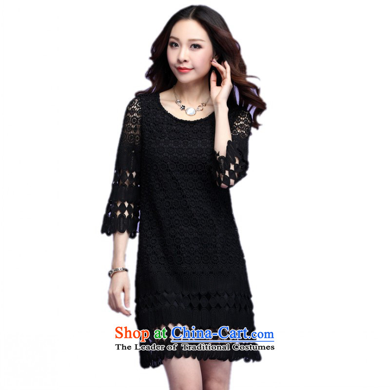 C.o.d. xl lady dresses 2015 Spring Summer circle tricks engraving Sau San short skirts 7 cuff commuter OL short skirt聽around 155-165 3XL black catties