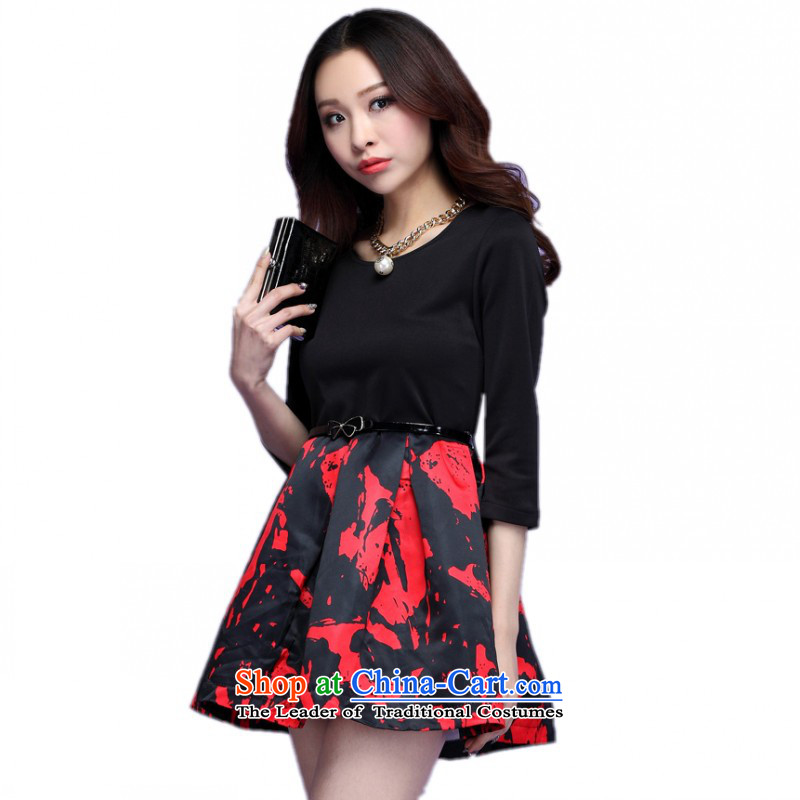 C.o.d. plus hypertrophy code dresses autumn 2015 new boxed won edition dyeing stamp stitching in cuff bon bon short skirt video thin thick mm skirt Red聽2XL聽about 140-150catty