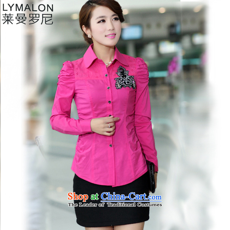The lymalon lehmann thick, Hin thin autumn 2015 mm thick Korean version of large numbers of ladies to increase roll collar long-sleeved shirt of red XXXL 686