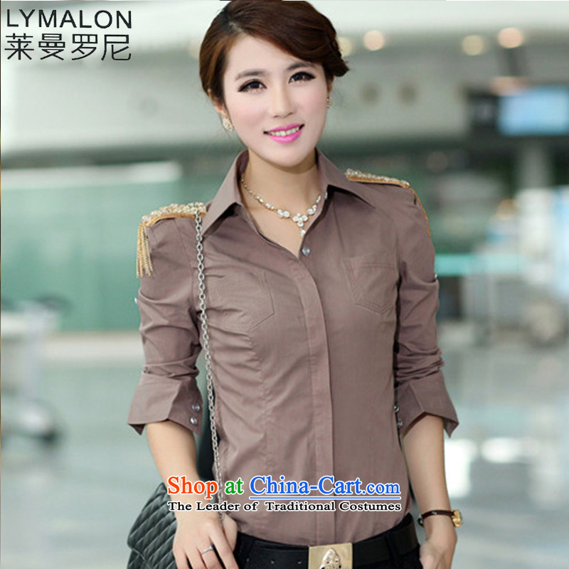 The lymalon lehmann thick, Hin thin autumn 2015 mm thick Korean Pack Plus fertilizer greatly code women lapel long-sleeved shirt shirt 688 card its燲XXL